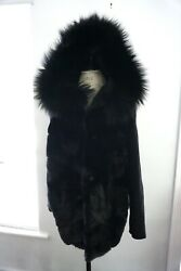 Army Yves Salomon Hooded Mink And Fox Stroller Jacket Cashmere Wool Sleeves And Back