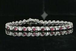 6250 14k Solid White Gold Ruby Round Diamond 6.75and039and039 Tennis Link Bracelet