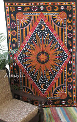 New Psychedelic Tapestry Celestial Multi Sun and Moon Small Indian Tapestries