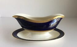 Crown Ducal China Colfax Cobalt Blue Gravy Boat Underplate Gold