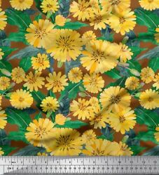 Soimoi Brown Cotton Poplin Fabric Leaves amp; Aster Floral Fabric Prints 8UX