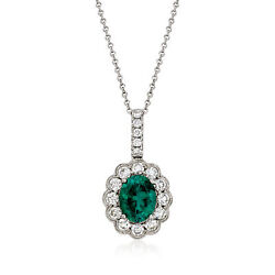 Vintage Green Tourmaline And Diamond Necklace In 18kt White Gold 18