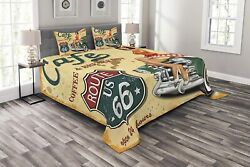 Lunarable Route 66 Bedspread Cafe Diner Sign With Vintage Lady Sitting On A Car