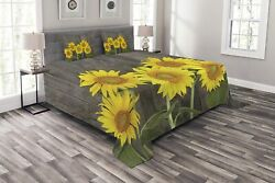 Ambesonne Sunflower Bedspread Helianthus Sunflowers Against Weathered Aged Fenc