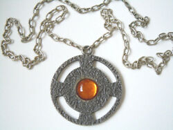Chain With Integrated Tin Pendant And Honey Glas Stone Jp Path Denmark 1.3oz