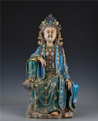 22.4'' China Antique Statue Five-colored Porcelain Kwan-yin Statue Old Pottery