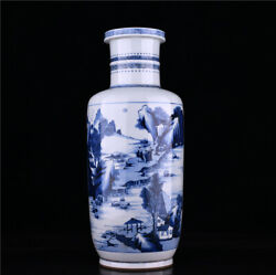 18.4and039and039 China Antique Vase Blue And White Porcelain Vase Old Pottery Bottle