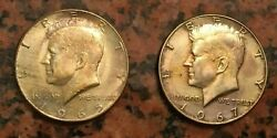 1965 +1967   2 Kennedy Half Dollars   Silver   Coins Have Beautiful Tone