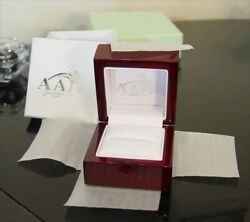 Lacquer Gloss Mahogany Jewelry Presentation White Leather Ring Box Only Empty
