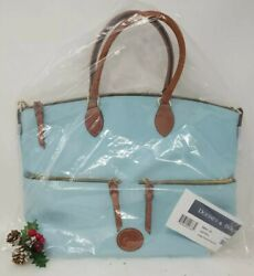 🌟🌷 DOONEY amp; BOURKE LARGE POCKET SATCHEL CROSSBODY LEATHER TRIM LIGHT BLUE NWT $149.00