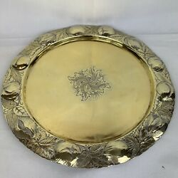 Antique Solid Silver Gilt Adapted Plate Fruit And Foliage Border Benjamin Laver