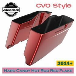 Hard Candy Hot Rod Red Flake Cvo Style Extended Bags Stretched Saddlebag For 14+