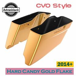 Hard Candy Gold Flake Cvo Tapered Extended Stretched Saddlebag For Harley 14+