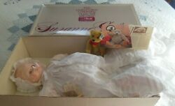 """Vintage Suzanne Gibson Christening Doll Baby Suzanne Limited Ed."""" W/steiff Bear"""