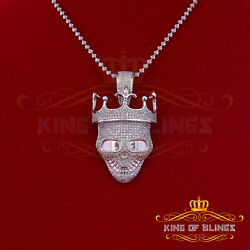 10k White Gold Finish Smiling Skull Crown Hat Silver Pendant W/ Lab Created Dia