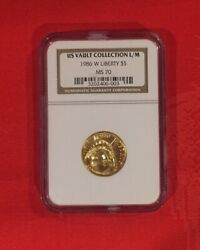 1986-w Statue Of Liberty Commemorative 5 Gold Ngc Ms 70