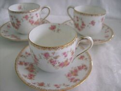 3 Three Noritake Nippon Demitasse Cups And Saucers - Tiny Pink Roses And Gold Trim