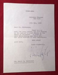May 13 1963 Letter Signed By Vivien Leigh During Her Tovarich Run For Which She