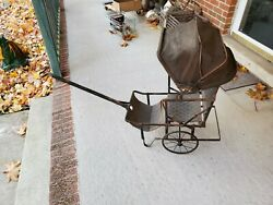 Antique Baby/child Buggy Carriage Stroller Doll Pull Steam Punk Vtg
