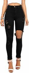 Vibrant Womenand039s Juniors Ripped Rise Skinny Jeans