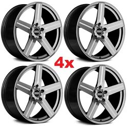 20 Staggered Offset Wheels Rims Gray Silver 5x112