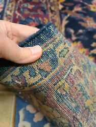 Antique Handwoven Rug Size 5and039x10and039 Traditional Lilihan Design Dark Blue