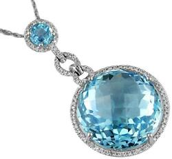 27.88ct Diamond And Aaa Blue Topaz 14kt White Gold 3d Round Halo Floating Pendant