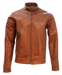 Menand039s Full Ostrich Genuine Leather Casual Jacket Western Wear Brown
