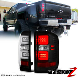 Tron Style Oled Tube Black Tail Lights Lamp Set For 2016-2018 Chevy Silverado