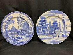 Set Of 2 Spode Blue Room Collection Rome And Delaware Plate 12 1/2 Blue England