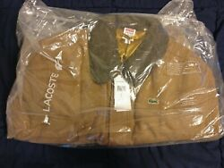 Supreme X Lacoste Wool Bomber Jacket Tan Large 100 Authentic New Deadstock Ds