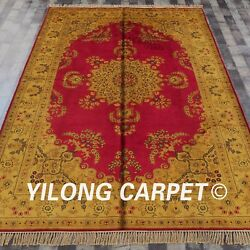 Yilong 6'x9' Handknotted Silk Carpet Gold Washed Vintage Interior Rug G76c