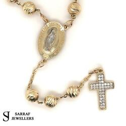 14ct Rosary Yellow Gold 585 24+4 Cz Cross St Christopher's Medal Junction New