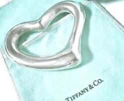 And Co Peretti Sterling Silver Open Heart Baby Teether Rattle In Pouch Box