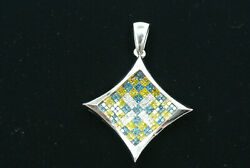 Custom Concave Pave Tri-colored Diamond Pendant Approx 6.86cttw And 14kt Wg