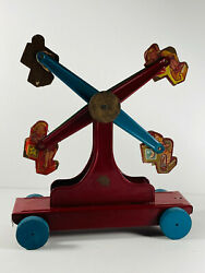 Unusual Tin Wood Vintage Circus Carnival Sideshow Ferris Wheel Midway Pull Toy