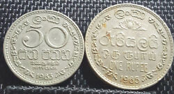 1963 Sri Lanka 50 Cent And 1965 1 Rupees Coin 2pcs Vf + Free 1 Coin D2563