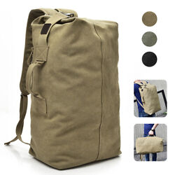 Military Duffle Bag Double Strap Canvas Backpack Army Travel Handbag Satchel $21.90