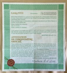 Rolex Certificate Chronometer 4110250 1976 Submariner 1680 Tropical Fat Font Oem