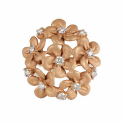 0.86ct Diamond Cocktail Flower Shaped Rings 925 Sterling Silver Gold Jewelry Dj