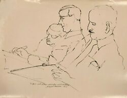 Three Artist Friends At Work Ink Drawing-1957-august Mosca