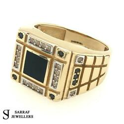 14ct Yellow Gold Ring Cz Black Onix Pattern 585 Style Dress Mens All Sizes New
