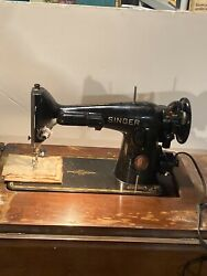 Beautiful Vintage Singer 201-2 Electric Sewing Machine Cabinet And Manual