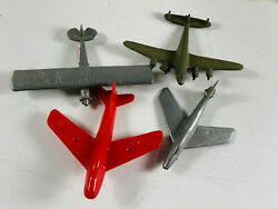 Lot 4 Vintage Plastic Toy Airplanes Planes Jet Army Air Force Prize Premium