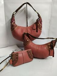 Coach Set of 3 Bags Soho Rose Pink Leather Stitched Grommet Studs Hobo Purses $418.50