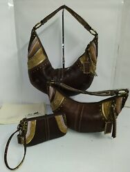Coach Set of 3 Bags Soho Brown Leather Stitched Grommet Studded Hobo Purses $418.50