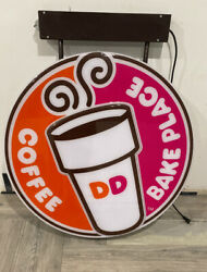 Large Hanging Dunkin Donuts Sign Dd Dunkin Double Sided 45 By 35