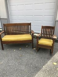 Arts And Crafts Mission Settee Chair Rittencraft Not Stickley
