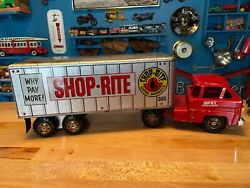 Louis Marx Usa 195o's-60's Shop-rite Steel Tractor And Trailer Very Solid Shape