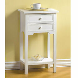 27 Tall White Wood Side Table With Two Drawers Square End Night Stand Modern